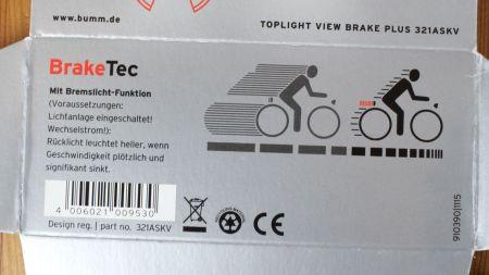 Busch & Müller Toplight View brake plus - Verpackung Unterseite