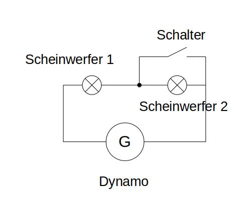 Scheinwerfer in Reihe mit Überbrückungsschalter