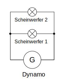 Zwei Dynamoscheinwerfer parallel